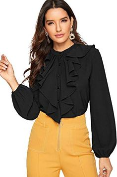 Looking for SheIn Women's Long Sleeve Button Down Lotus Ruffled Work Shirt Chiffon Blouse Top ? Check out our picks for the SheIn Women's Long Sleeve Button Down Lotus Ruffled Work Shirt Chiffon Blouse Top from the popular stores - all in one. Fall Shirts, Work Shirts, Women's Shirts, Chiffon Shirt, Ruffle Blouse, Chiffon Blouses, Women's Blouses, Sleeveless Shirt, Mode Ootd