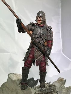 Pelennor fields orc warrior custom action figure from the Lord of the Rings series using Isengard orc warrior / Aragorn as the base, created by Staley. Orc Armor, Facial Tattoos, Custom Action Figures, Fantasy Rpg, Kind Words, Lord Of The Rings, Tolkien, Goblin, Lotr