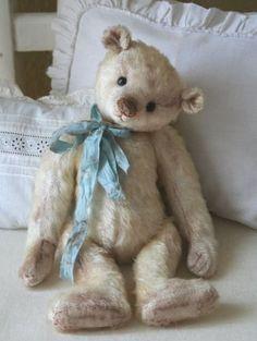 Vintage Shabby Pink! / teddy bear with blue ribbon