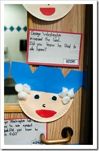 Materials: paper plate, cotton balls, blue paper   Have students create George Washington and list one fact they have learned to include with their project.