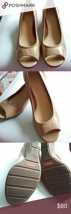 "Cloe Haan Nike Air Ivory Patten leather peep toe s Wedge heel 1 1/2"". Like new. Very comfortable fit. Size 10 B. Excellent condition. Cole Haan Shoes Wedges"
