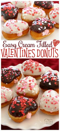 Easy 20-Minute Cream Filled Valentines Donuts - SO simple to make! Starts with biscuit dough! fun, festive recipe from Butter With A Side of Bread