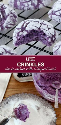 Ube Crinkles are soft, moist and bursting with Ube flavors. These classic cookies with a tropical twist are so easy to make and perfect for coffee or tea time. #cookies #crinkles #ube #bakedgoods #sweets #dessert #snack #recipe #filipinofood