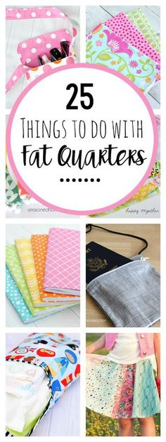If you love sewing and want to use up some of your smaller pieces of fabric, these projects made with fat quarters are a perfect project for you. Try these 25 fun things to do with fat quarters that are quick and easy and fun to sew! Easy Sewing Projects, Sewing Projects For Beginners, Sewing Hacks, Sewing Tutorials, Sewing Tips, Sewing Ideas, Sewing Machine Projects, Sewing Machines, Crochet Projects