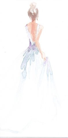 Limited edition 8.5 x 11 print of original watercolor fashion illustration by Carol Hannah.
