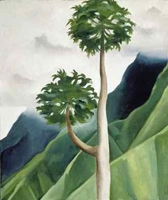 'Papaya Tree, Iao Valley' (1939) by American artist Georgia O'Keeffe (1887-1986). Oil on canvas, 19 x 16 in. collection: Honolulu Academy of Arts. via okeeffe country