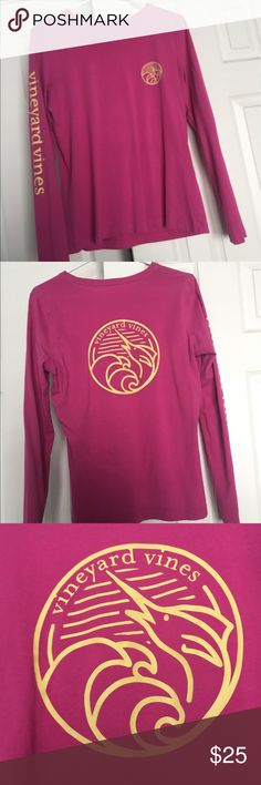 vineyard vines long sleeve tshirt perfect condition vineyard vines women's long sleeve. pink/yellow. sadly it doesn't fit me anymore. breathable material. let me know if you have any questions :) Vineyard Vines Tops Tees - Long Sleeve