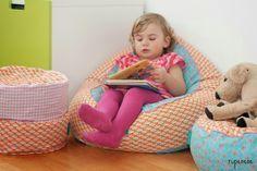 Sitzsack für Kinder, bean bag - freebook straight grain