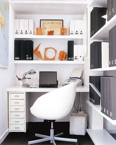 Office Decor: Another cool storage idea for a tiny office space.