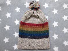 Knit Pride Hat  LGBT Rainbow  Cream Wool Tweed