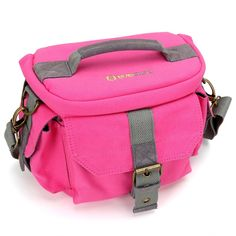 Evecase DSLR/SLR Camera Water Resistant Canvas Case Bag with Shoulder Strap For SLR / DSLR, Compact system, Hybrid, and High Zoom Camera and other Accessories - Hot Pink / Medium -- Click image to review more details. (This is an Amazon Affiliate link and I receive a commission for the sales)