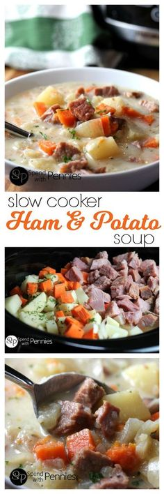 If you've got leftover ham, this is an amazing way to enjoy it! Slow Cooker Ham & Potato Soup! The perfect meal to come home to! @spendpennies
