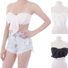 ebclo - Lovely Chiffon BOW TUBE TOP Strapless Bra Top NEW