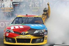 Kyle Busch is one of the most talented drivers in the garage and is a threat to win every time he enters a race. Kyle Busch's racing philosophy is simple: Win or go home. Nascar Sprint Cup, Nascar Racing, Racing Team, Sprint Cars, Nascar Memes, Kyle Bush, Kyle Busch Nascar, Kyle Busch Motorsports, Vintage Race Car