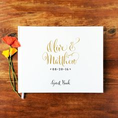 Wedding Guest Book Landscape #1 - Custom Hardcover Guest Book - Gold Calligraphy