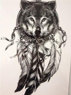 2016 Волк с Перо Прохладный Салон Татуировки Водонепроницаемый Горячие Временные…