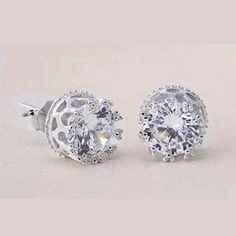 Boutique 🆕 crystal rhinestone blingy studs ➡ RESTOCKED ⬅ #041316 silver crown stud earrings faux diamond 6mm diameter     AMAZZZING BLING!!    ☞ Check out other listings that include brands from The Buckle, including Daytrip, Bke, Big Star, Miss Me & much more! ☜ Boutique  Jewelry Earrings
