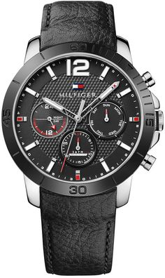bc1eda2eee5 Tommy Hilfiger Tommy Hilfiger Men s Sophisticated Sport Black Leather Strap  Watch 44mm 1791268 Mens Watches Leather