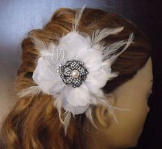 Stunning Bridal Headpieces :  wedding black bridal clip bridesmaids ceremony dress feather flowers hair flower headband headpiece ivory jewelry pearl reception tiara tulle vintage white Il Fullxfull.253531425