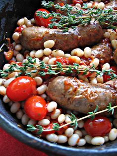Sausage and white bean cassoulet ... Perfect for the 4 hour body diet