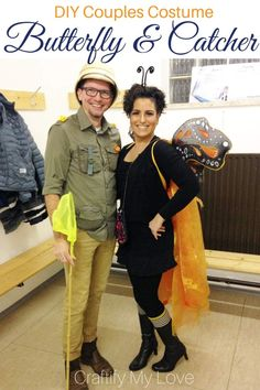 Stunning DIY couples costume for a monarch butterfly and a butterfly catcher. Click for full tutorials! #craftifymylove #couplescostume #halloween #costumeidea #butterflycostume #halloweenonabudget via @CML_Habiba