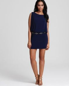 Laundry by Shelli Segal Blouson Dress with Beaded Band  Bloomingdale's