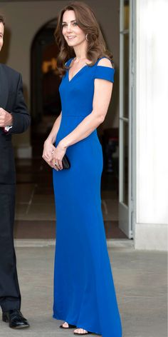 Kate Middleton in a minimalist  royal blue gown by Roland Mouret.