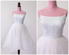 1950s Dress / VINTAGE / White / Wedding Dress / by HighHatCouture