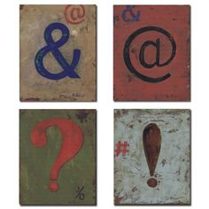 Punctuation-Distressed Wall Plaques.