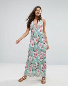 Missguided - Vestito lungo plissettato a fiori con scollo profondo