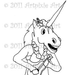 Hula Unicorn with Ukelele Digistamp Digital stamp by artpixie, $3.00