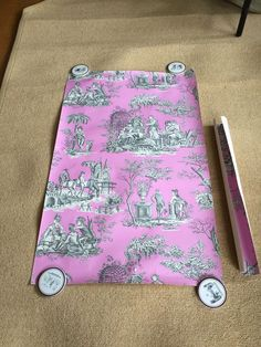 Manuel Canovas Toile Orange Violet WALL PAPER Remnant Small Scrapbook Crafting #ManuelCanovas