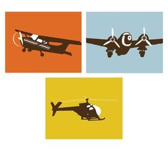 Vintage Airplane Art for Boys Nursery, set of 3, 5 x 7 Prints - available in different sizes and colors