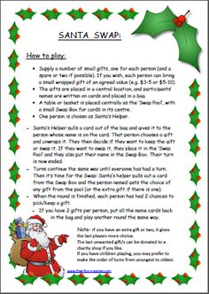 """This is a fun inexpensive game that I adapted from """"Dirty Santa"""" . we played this last Christmas and it was lots of fun. It's a gentle way of sharing gifts and making sure everyone gets something they actually want! - Fun Stuff - Free Fun and Games Christmas Gift Exchange Games, Xmas Games, Fun Christmas Games, Holiday Games, Christmas Activities, Christmas Printables, Holiday Fun, Fun Games, Christmas Worksheets"""