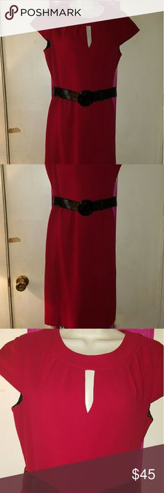Ruby Red Tahari Arthur Levine Dress Beautiful dark ruby red dress from Tahari Arthur S Levine. Fully lined. Slit on the bodice. Black patent leather belt. Zipper and kick pleat in the back.   Length is 42 inches from top of shoulder to hem. Could not find fabric label or washing instructions but I believe it should be dry cleaned. Bust 19 inches flat. Size 6. EUC Tahari Dresses Midi