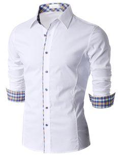 Doublju Men's Check Trimmed Long Sleeve Dress Shirt (KMTSTL0187) #doublju