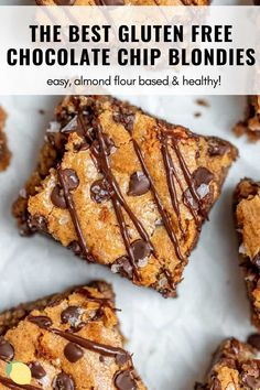 These are the BEST gluten free blondies ever. They're like chocolate chip cookie bars made with almond flour, so easy to make and surprisingly healthy. They're the perfect way to satisfy your sweet tooth without a sugar rush. These blondies are the real deal. #blondies #paleoblondies #glutenfreeblondies