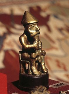 Bronze statuette of Thor, Viking god, c.1000 AD. from Iceland, National Museum…