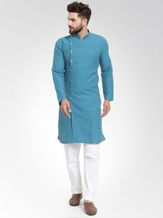 Buy Jompers Men Green Self Design Kurta With Salwar - - Apparel for Men from Jompers at Rs. Kurta Pajama Men, Kurta Men, Boys Kurta Design, Kurta Style, Mens Kurta Designs, Self Design, Mandarin Collar, Pajama Set, Chef Jackets