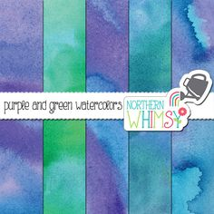 Watercolor Digital Paper – purple and green watercolor scrapbook paper - watercolor texture - printable watercolor  paper - commercial use