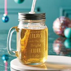 'Always Look On The Bright Cider Life' Mason Jar. Discover thoughtful, personal and wonderfully unique gifts for him this Christmas. You won't be short of ideas.
