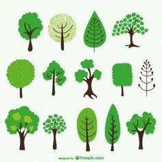Conjunto de dibujos de árboles