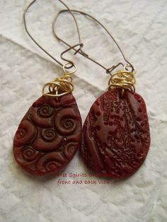 polymer clay earrings. Front and back view