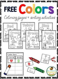 Free Coloring & Sorting Colors Activities - Classroom Freebies - 2 & 3 yr old class - Free Coloring & Sorting Colors Activities These coloring pages and sorting activities are fun for p - Kindergarten Colors, Preschool Colors, Teaching Colors, Free Preschool, Preschool Printables, Preschool Lessons, Preschool Classroom, Preschool Worksheets, Preschool Activities