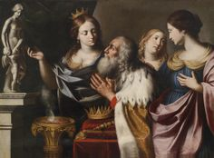 "King Solomon in his old age led astray into idolatry by his wives / El anciano Rey Salomón inclinado hacia la idolatría // 1668 // Giovanni Venanzi di Pesaro // ""When Solomon was old his wives had turned his heart to follow other gods,and his heart was not entirely with the LORD,his God,as the heart of David his father had been.Solomon followed Astarte,the goddess of the Sidonians,and Milcom,the abomination of the Ammonites."" 1 Kings 11:4-5"