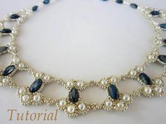 PDF tutorial lace beaded necklace seed bead pearl by BeadsMadness, $4.50