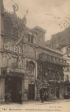 """Paris """"Belle Époque""""postcard, """"724, Montmartre, Boulevard de Clichy (Le Ciel et L'Enfer), G.C.A. Paris""""."""