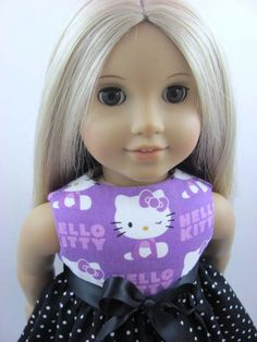 Purple and Black Dot Hello Kitty Dress for the American Girl Doll, $11.00