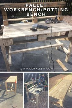 Turn two pallets (plus some reclaimed fencing rail) into a useful work surface for your workshop or potting shed. Every shed needs a strong stable work Pallet Furniture Plans, Pallet Furniture Designs, Furniture Projects, 1001 Pallets, Recycled Pallets, Pallet Potting Bench, Pallet Benches, Diy Pallet Projects, Pallet Ideas