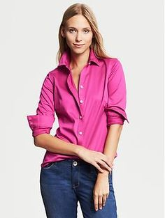Fitted Non-Iron Sateen Shirt | Banana Republic. A slightly different cut than the Tailored Non-Iron. Try to buy these in multiple colors too. Goes from work with suits to jeans and skirts.
